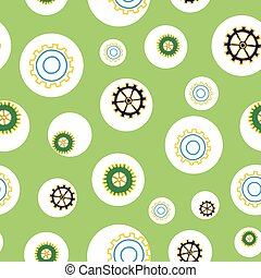 Tinkering cogs and gears bouncing about in circles on green background seamless repeat vector pattern design