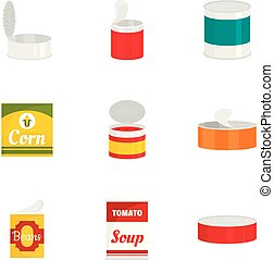 Tinned can icon set, flat style - Tinned can icon set. Flat...