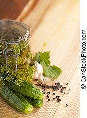 Tinned cucumbers of preparation