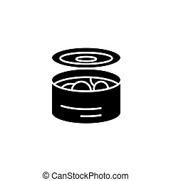 Tinned food black icon concept. Tinned food flat  vector symbol, sign, illustration.