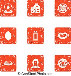 Tinned food icons set, grunge style - Tinned food icons set....