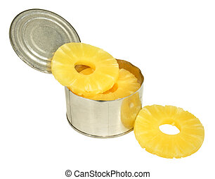 Opened tin of pineapple fruit rings, isolated on a white background.