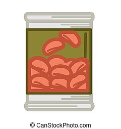 Tinned red beans - Vector illustration of can with preserved...