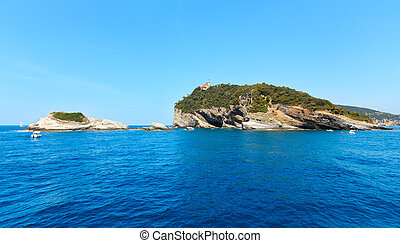 Tino island, La Spezia, Italy - Beautiful rocky sea coast of...
