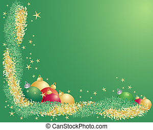 tinsel border - an illustration of green and gold tinsel...