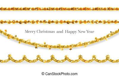 Tinsel decor elements - Festive decor garland. Christmas...