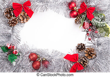 tinsel frame background pine cone bow