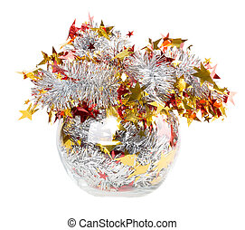 Tinsel silver with red stars