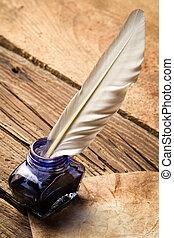 tinta azul, con, pluma, en, viejo, vendimia, carta