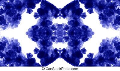 tinta azul, dissolves, em, água, branco, fundo, com, luma, matte., 3d, render, v2, caleidoscópio, efeito