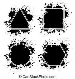 tinta, bordas, grunge, blots