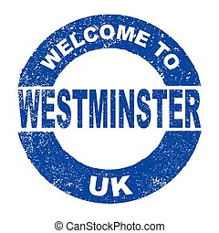 tinta, caucho, westminster, estampilla, bienvenida, reino...