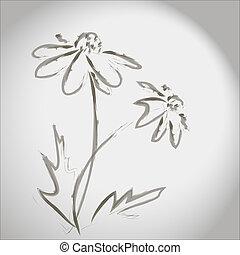 tinta, esboço, de, flores