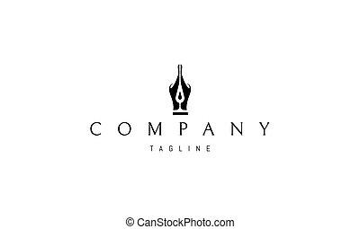 tinta, gota, middle., silueta, logotipo, vector, pluma, imagen, resumen