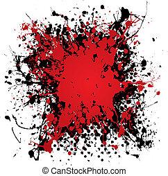tinta, grunge, locsogás, vér