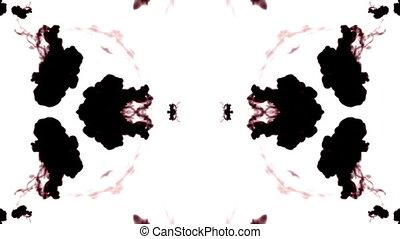 tinta preta, dissolves, em, água, branco, fundo, com, luma, matte., 3d, render, v2, caleidoscópio, efeito