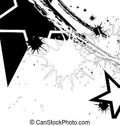 tinta preta, estrela, splatter