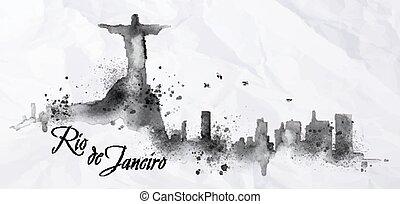 tinta, rio, ellen-, árnykép, janeiro