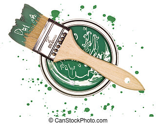 tinta verde, lata, com, escova