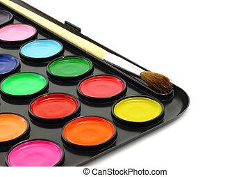 tintas, escova, watercolour