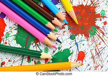 tintas, escovas