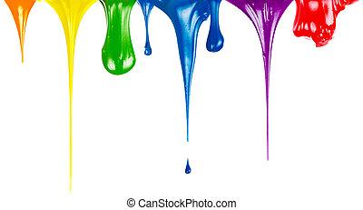 tintas, gotejando, isolado, branco