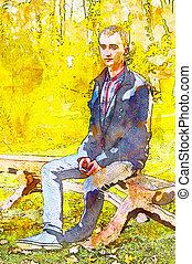 tintas, homem jovem, bonito, outono, park., efeito, óleo
