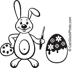 tintas, Páscoa, ovo, coelho