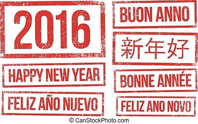 tinte, briefmarken, jahr, neu , 2016, glücklich
