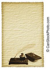 tinte, pergament, stift, satz, grunge, aus, feder
