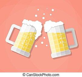 tintement, grandes tasses, bière