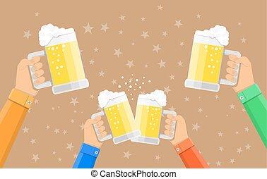 tintement, lunettes bière, tenue, gens