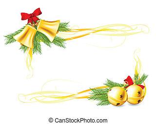 tintinee campanas, y, navidad, decorat