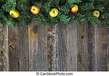 apples in pine Christmas garland