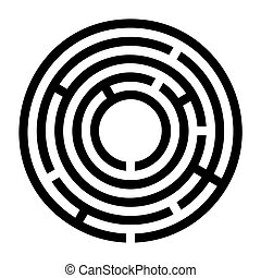 Tiny black circular maze, radial labyrinth - Tiny black ...