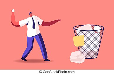 Tiny Businessman Male Character Throwing Crumpled Paper Ball into Huge Litter Bin. Office Worker, Stressed Manager