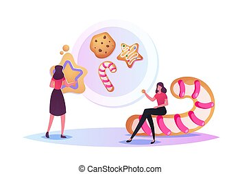 Tiny Characters Baking Huge Christmas Bakery Cutting, Cookies of Raw Dough and Making Sweets. Xmas or New Year Holidays