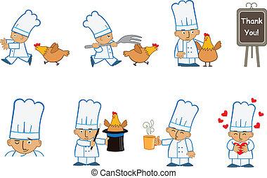 Tiny Chef Fun - Fun set of eight chef emoticons doing...
