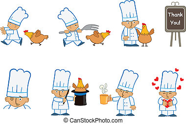 Tiny Chef Fun - Fun set of eight chef emoticons doing...
