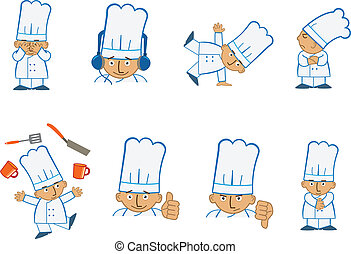 Fun set of eight chef emoticons doing different things. Eps10