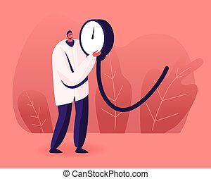 Tiny Doctor Holding Huge Manometer Device, Part of Tonometer for Checking Systolic and Diastolic and Measuring Arterial Blood Pressure. Cardiology Diseases Concept. Cartoon Flat Vector Illustration