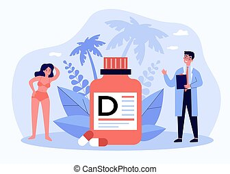Tiny doctor recommending vitamin D for wellbeing flat vector illustration. Cartoon people getting medicine in nutrient deficiency. Food supplement and health care concept