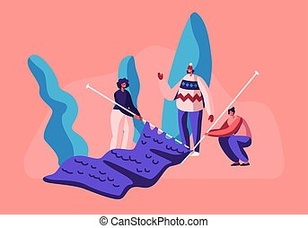 Tiny Female Characters Handcraft Hobby Concept. Girls with Huge Knitting Needles Knit Warm Clothes for Cold Winter Time. Women Enjoying Knitwork Hobby and Leisure Fun. Cartoon Flat Vector Illustration