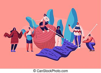 Tiny Female Characters Handcraft Hobby Concept. Women Knitwork, Girls with Huge Knitting Needles and Clew Knit Warm Clothes as Jumpers, Scarfs for Winter Cold Time Cartoon Flat Vector Illustration