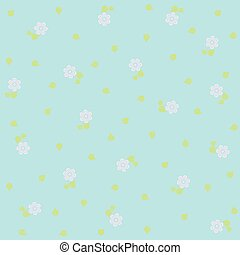 tiny floral pattern on blue background