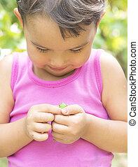 Tiny frog on little girl hands