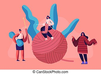 Tiny Girls with Knitting Needles Sitting on Huge Clew. Handcraft Hobby Concept Women Knitwork, Knit Warm Clothing as Jumper for Winter Cold Time, Home Needlework. Cartoon Flat Vector Illustration