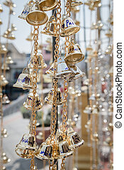 Tiny Gold Bells with Writing