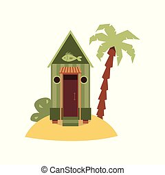 Tiny green beach hut with fish sign on small sand island with palm tree.