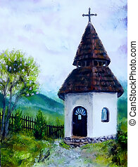 tiny historic belfry in rural landscape, original painting,...